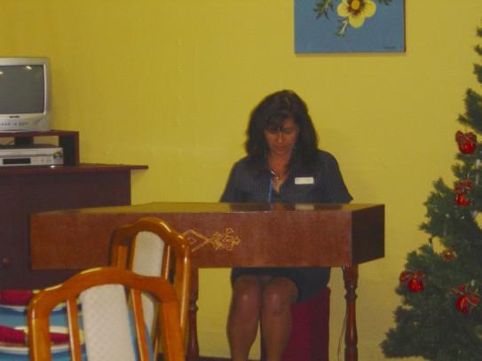 Rachel at the harpsichord